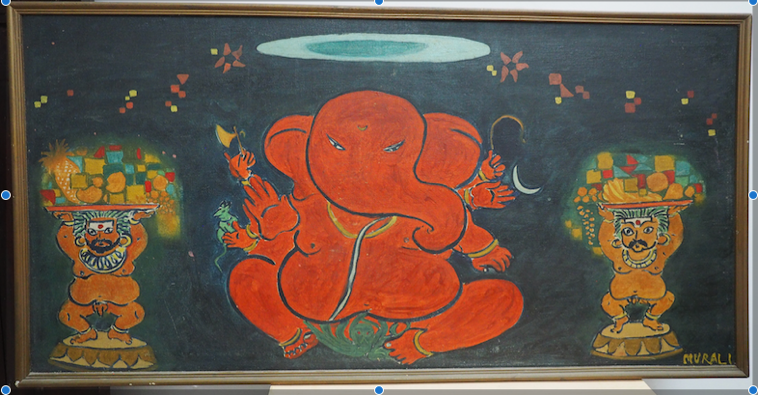 Bala Ganesha playing Miniature Painting on easel - Ganesha